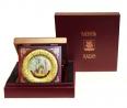 """Тарелка золотая откидная """"Кул-Шариф"""" в деревянной коробке малая"""